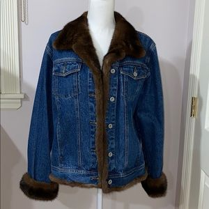 Jean Crisan Denim Jacket with Mink Trim
